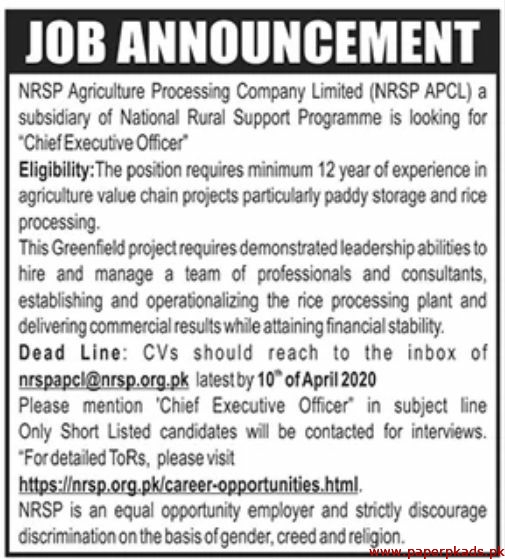NRSP Agriculture Processing Company Limited Jobs 2020 Latest
