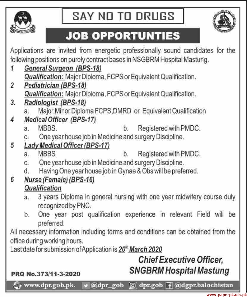 NSGBRM Hospital Mastung Jobs 2020 Latest