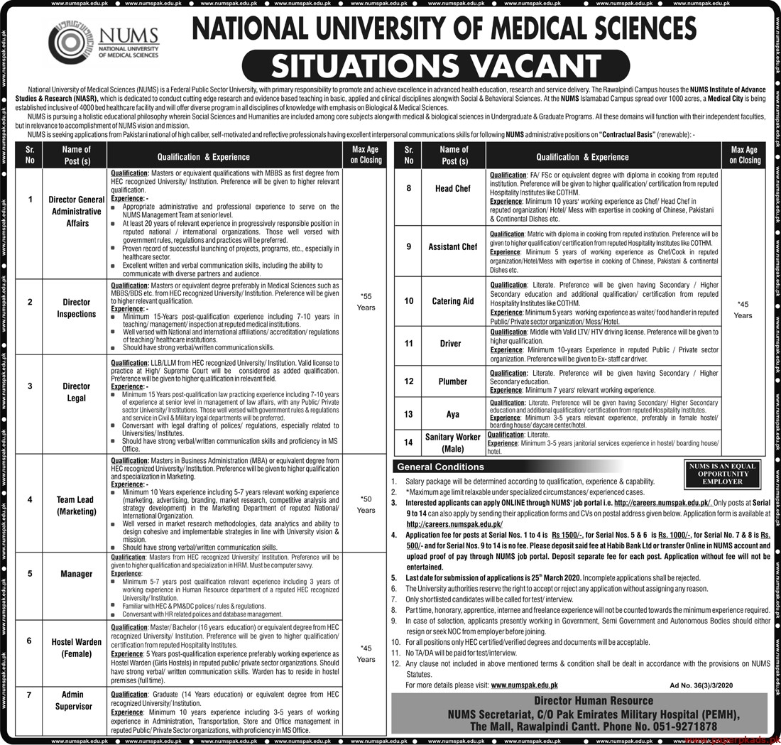National University of Medical Sciences NUMS Jobs 2020 Latest