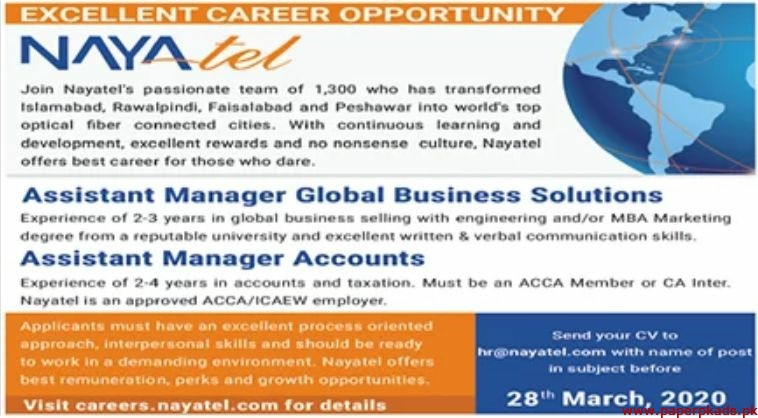 Nayatel Fiber Networks Jobs 2020 Latest