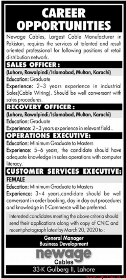 Newage Cables Jobs 2020 Latest