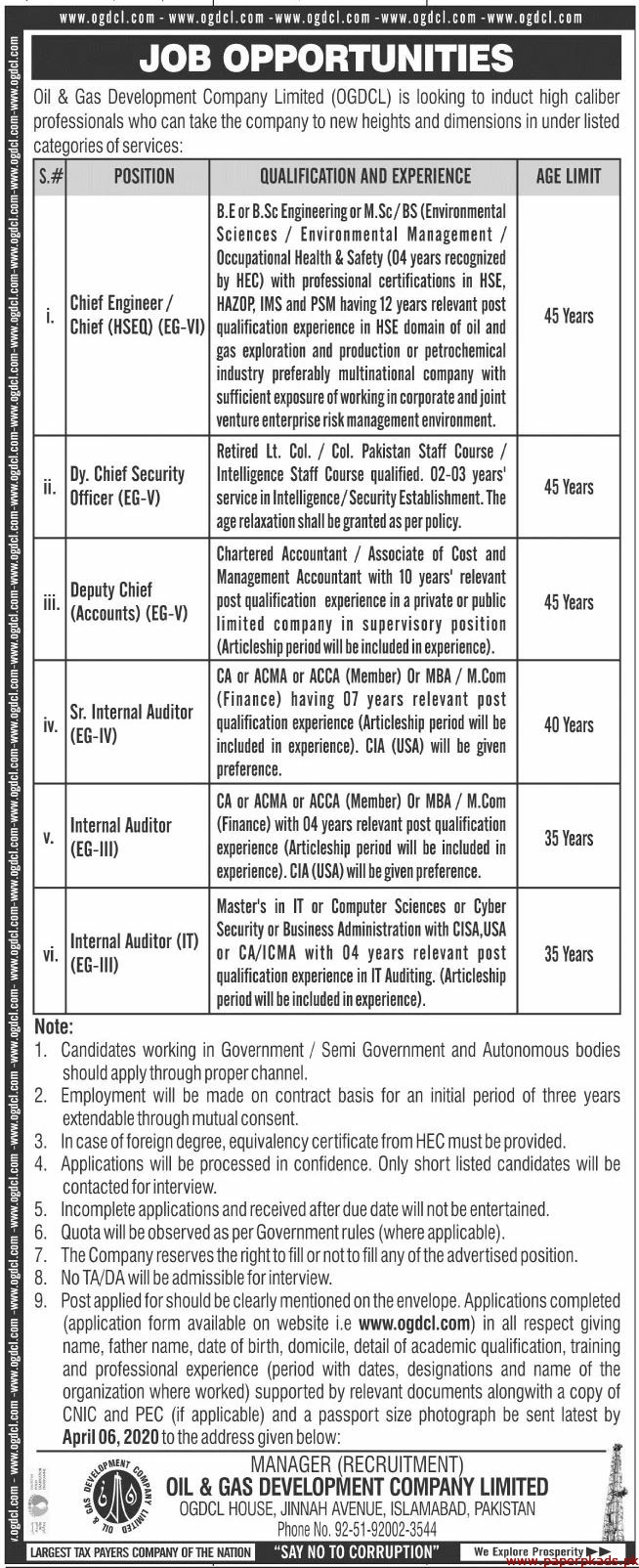 Oil & Gas Development Company Limited Jobs 2020