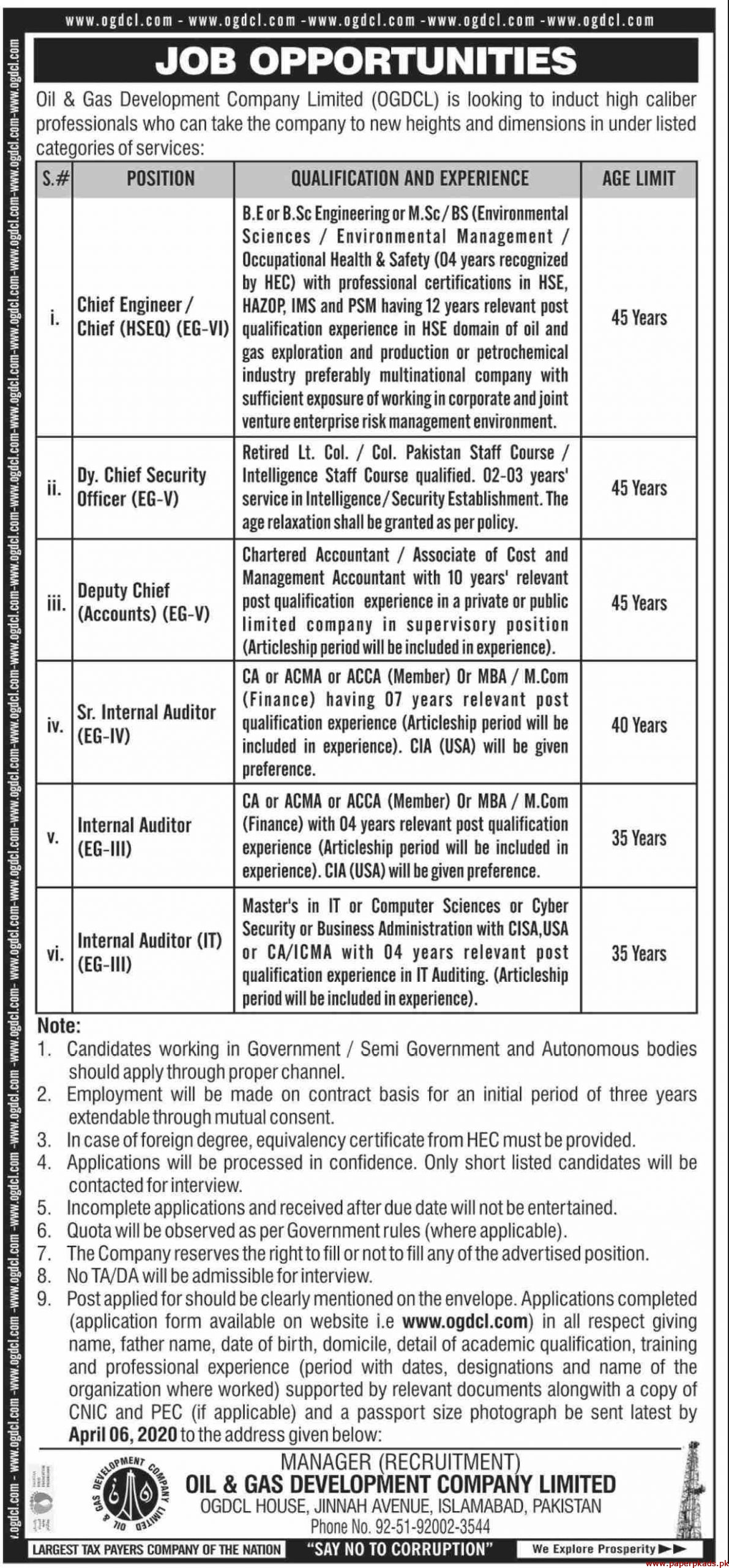 Oil & Gas Development Company Limited OGDCL Jobs 2020 Latest