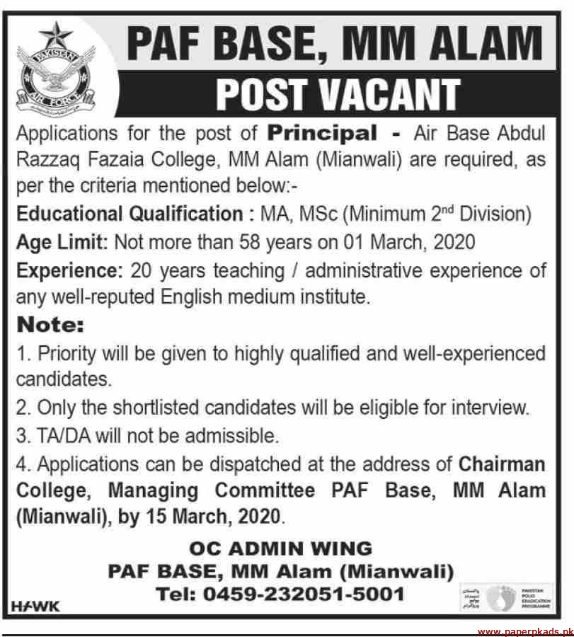 PAF Base MM Alam Jobs 2020 Latest