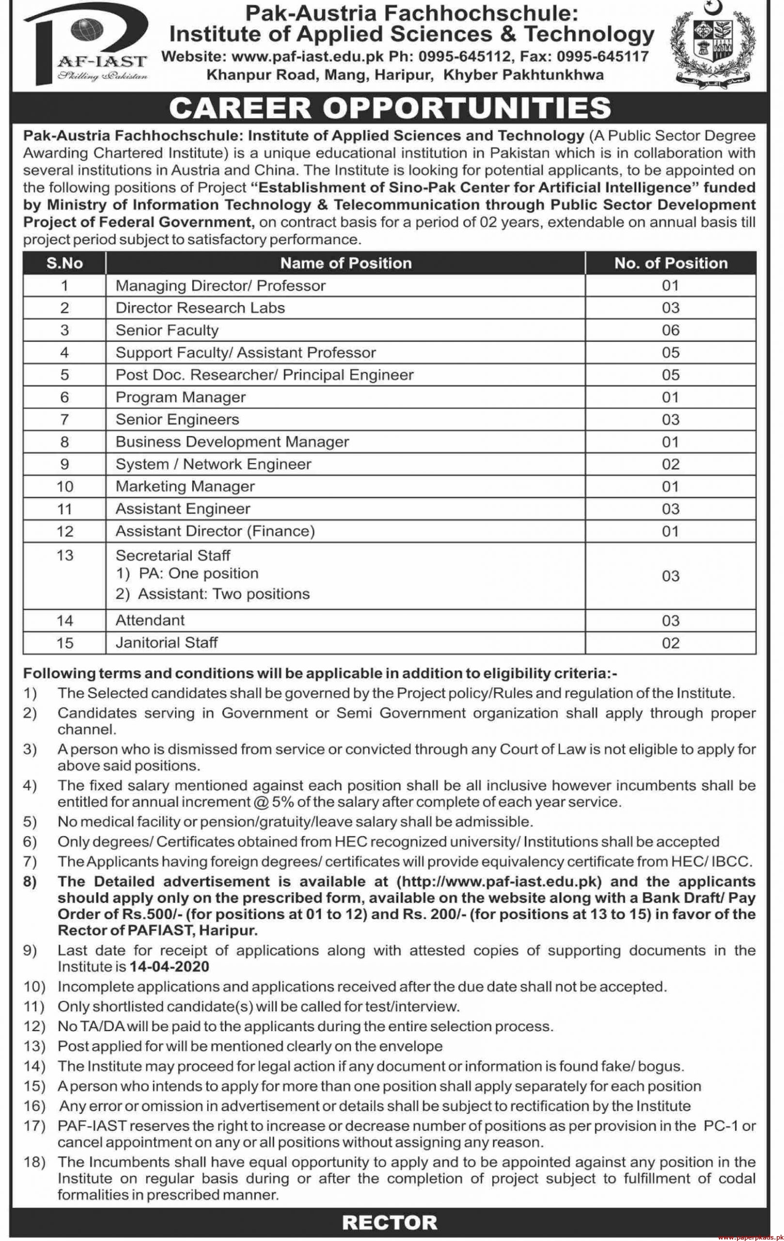 PAF Institute of Applied Sciences & Technology Jobs 2020 Latest