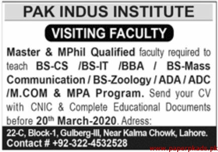 Pak Indus Institute Jobs 2020 Latest