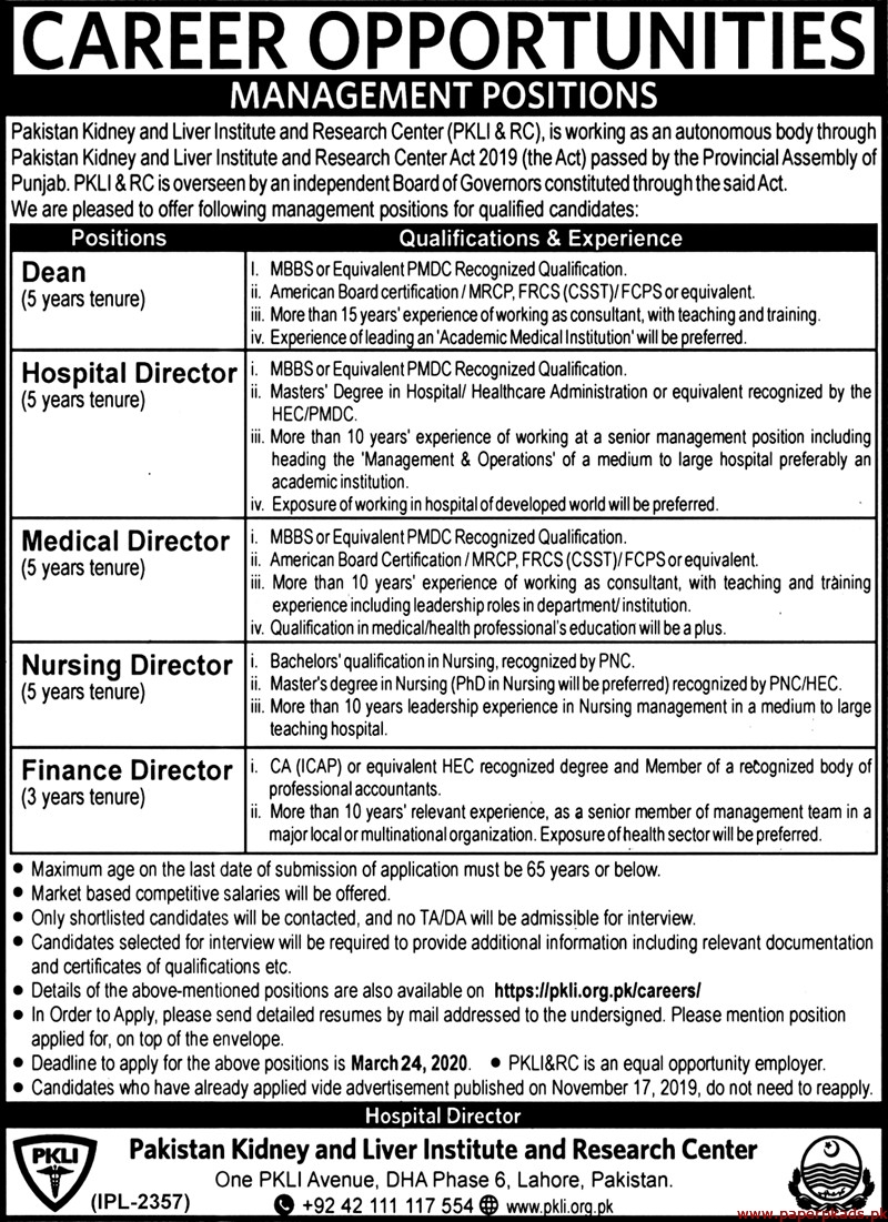 Pakistan Kidney and Liver Institute and Research Center PKLI & RC Jobs 2020 Latest