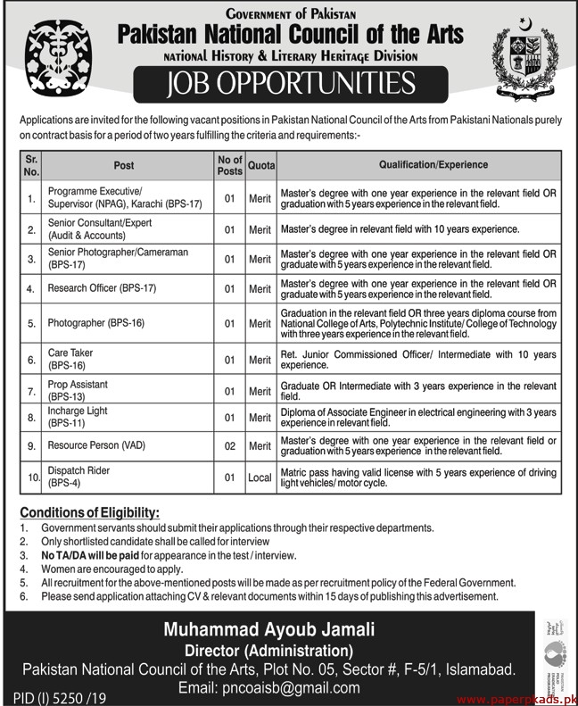 Pakistan National Council of the Arts Jobs 2020 Latest