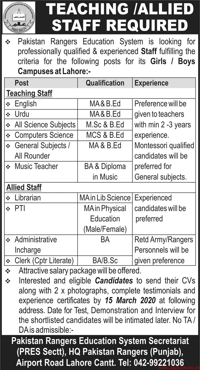 Pakistan Rangers Education System Jobs 2020 Latest