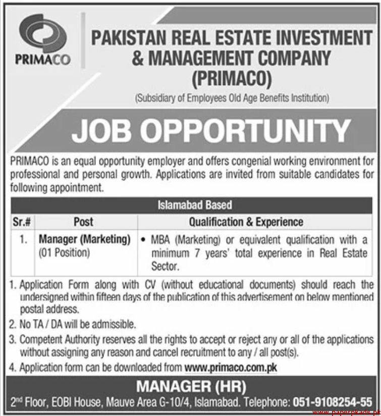 Pakistan Real Estate Investment & Management Company PRIMACO Jobs 2020 Latest
