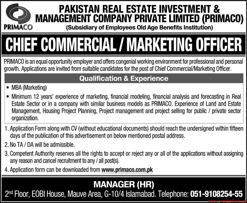 Pakistan Real Estate Investment & Management Company Private Limited PRIMACO Jobs 2020 Latest
