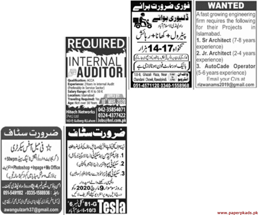 Paper Pk Newspaper Jobs 08 March 2020 Latest