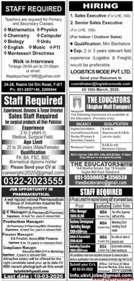 Paperpk Jang Newspaper Jobs 01 March 2020 Latest
