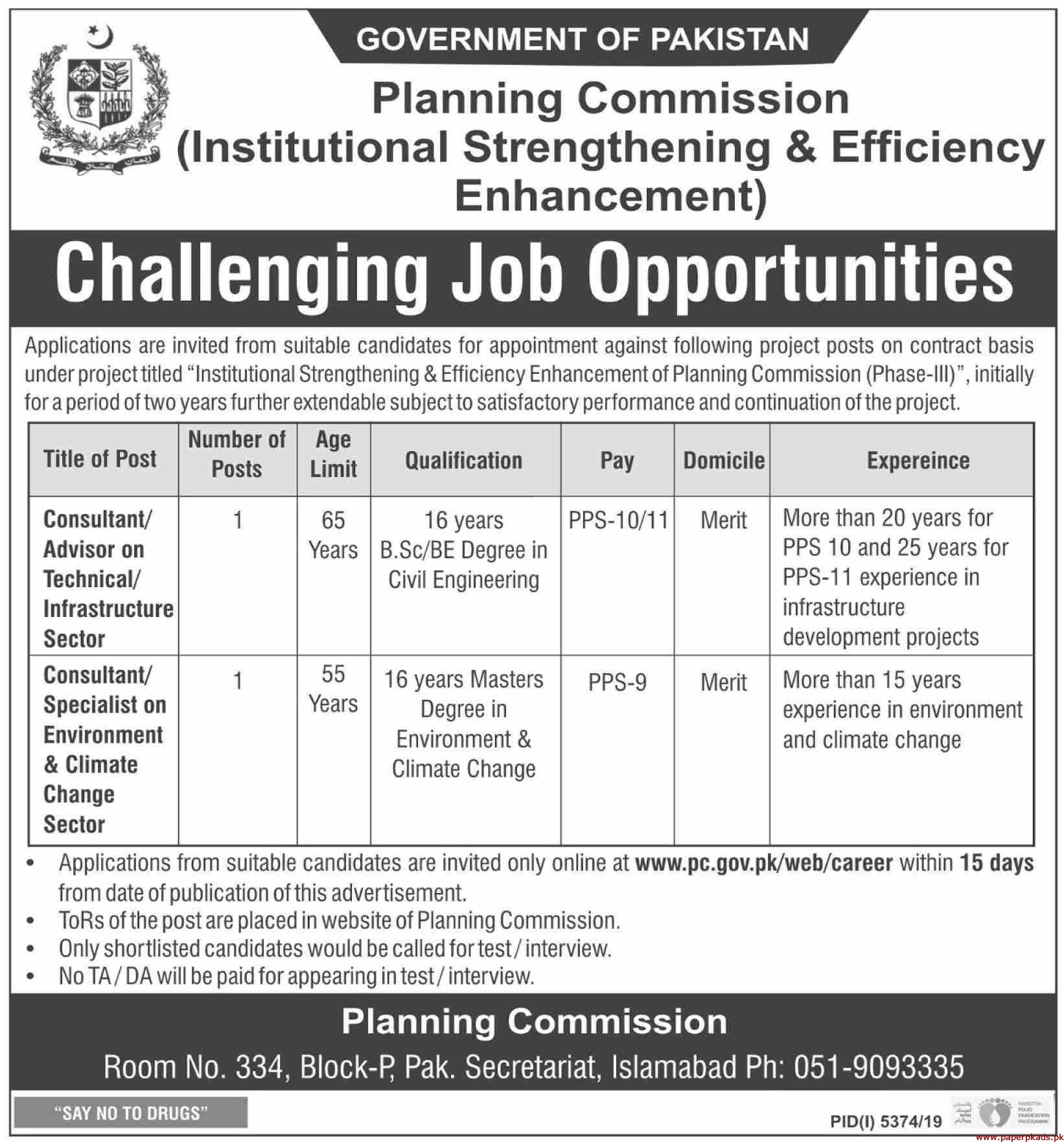 Planning Commission Government of Pakistan Jobs 2020 Latest