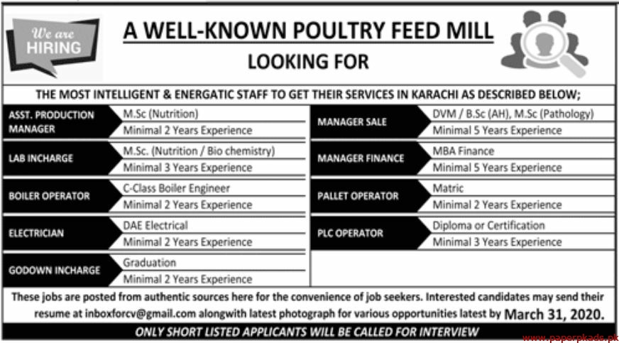 Poultry Feed Mill Jobs 2020 Latest