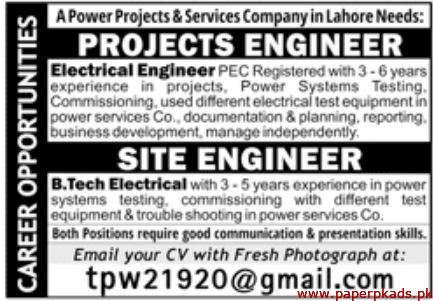Power Projects & Services Company Jobs 2020 Latest