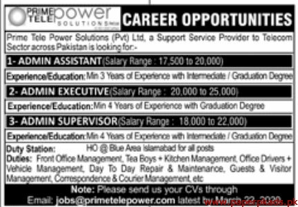 Prime Tele Power Solutions Pvt Ltd Jobs 2020 Latest