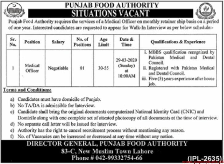 Punjab Food Authority Jobs 2020 Latest