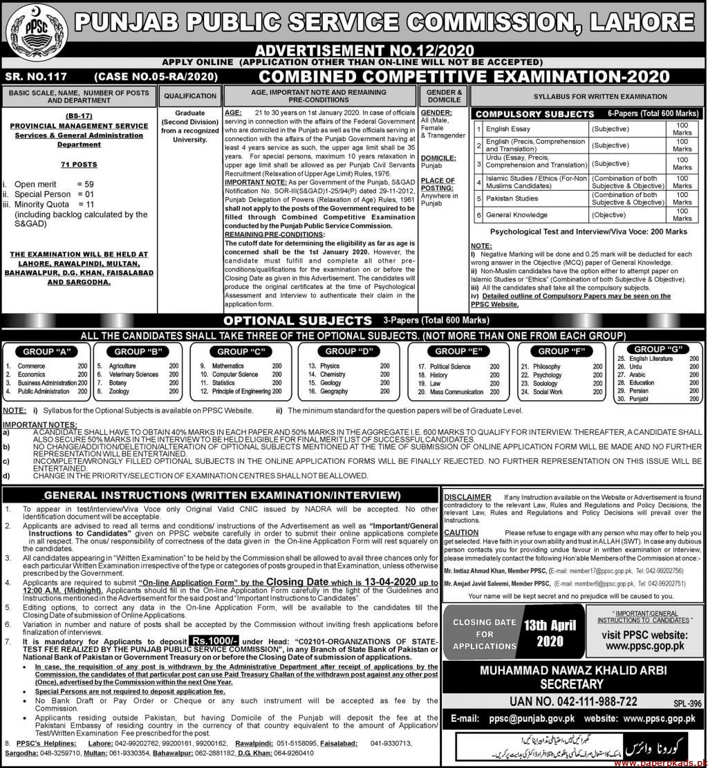 Punjab Public Service Commission (PPSC) Advertisement No 12-2020 Latest