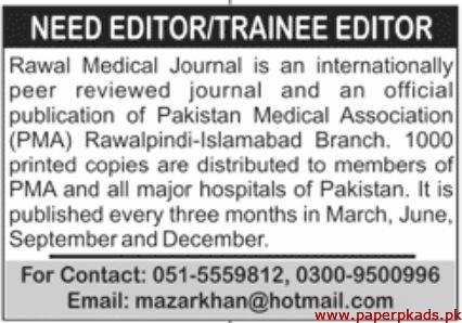 Rawal Medical Journal Jobs 2020 Latest
