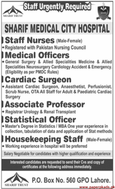 Sharif Medical City Hospital Jobs 2020 Latest