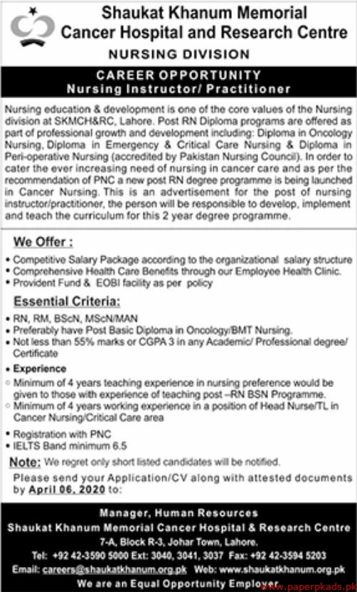 Shaukat Khanum Memorial Cancer Hospital and Research Centre Jobs 2020 Latest