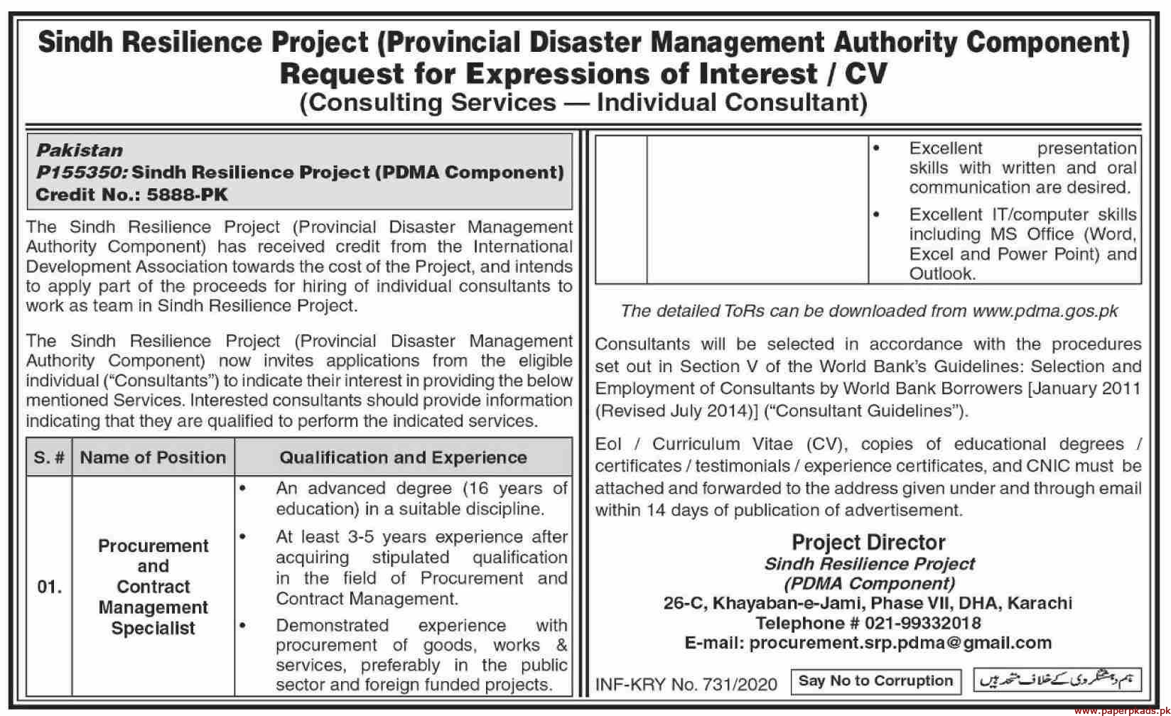 Sindh Resilience Project Jobs 2020 Latest