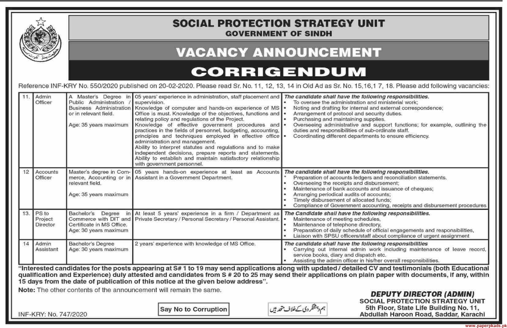 Social Protection Strategy Unit Government of Sindh Jobs 2020 Latest