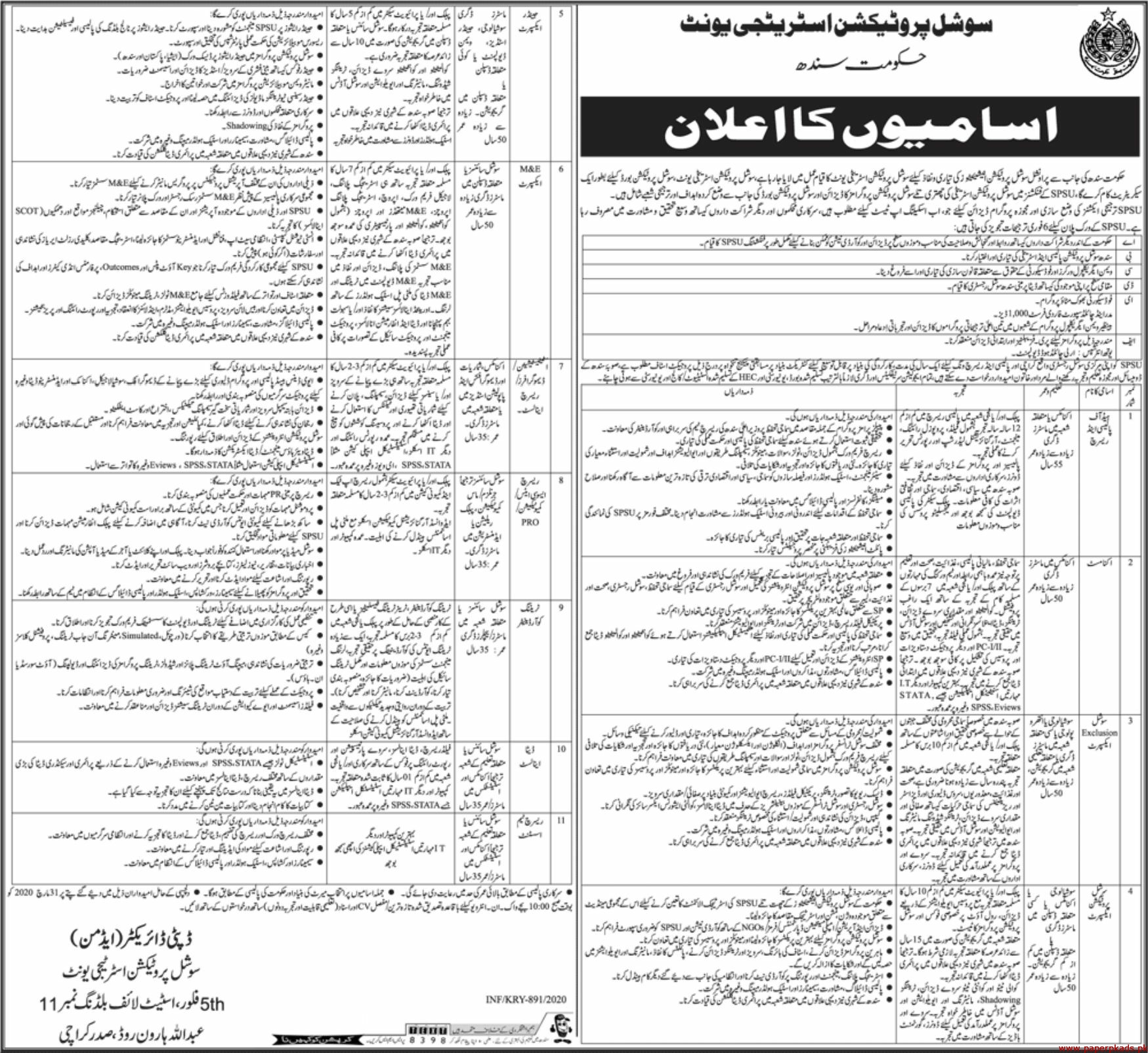 Social Protection Strategy Unit SPSU Jobs 2020 Latest
