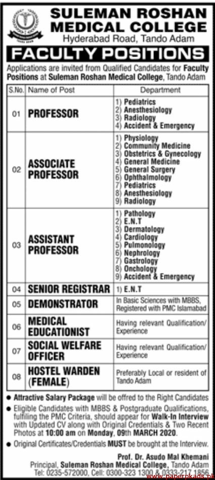 Suleman Roshan Medical College Jobs 2020 Latest