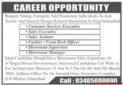 Textile and Interior Design Showroom Jobs 2020 Latest