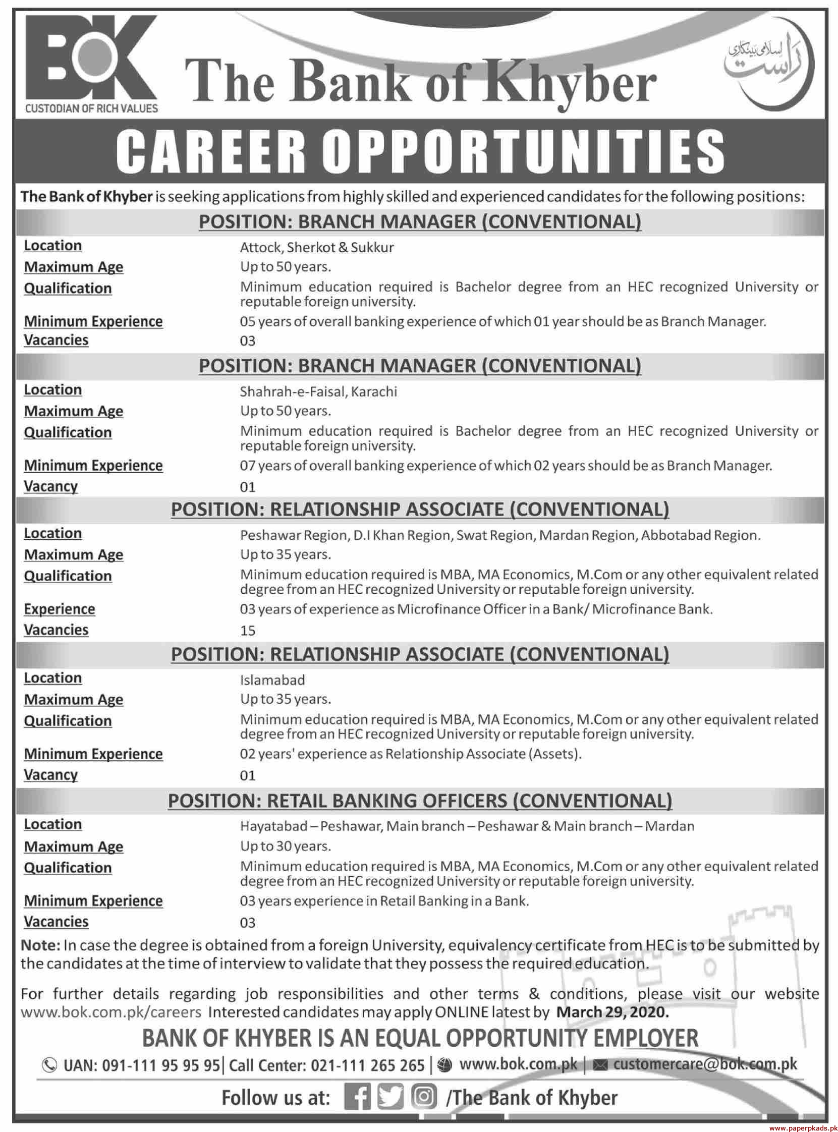 The Bank of Khyber (BOK) Jobs 2020 Latest