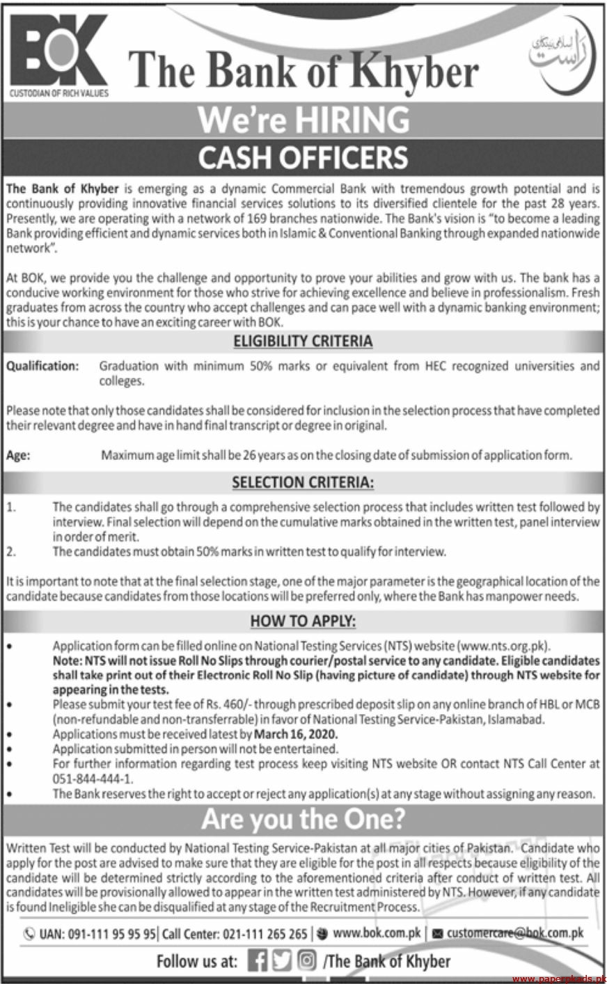 The Bank of Khyber BOK Jobs 2020 Latest