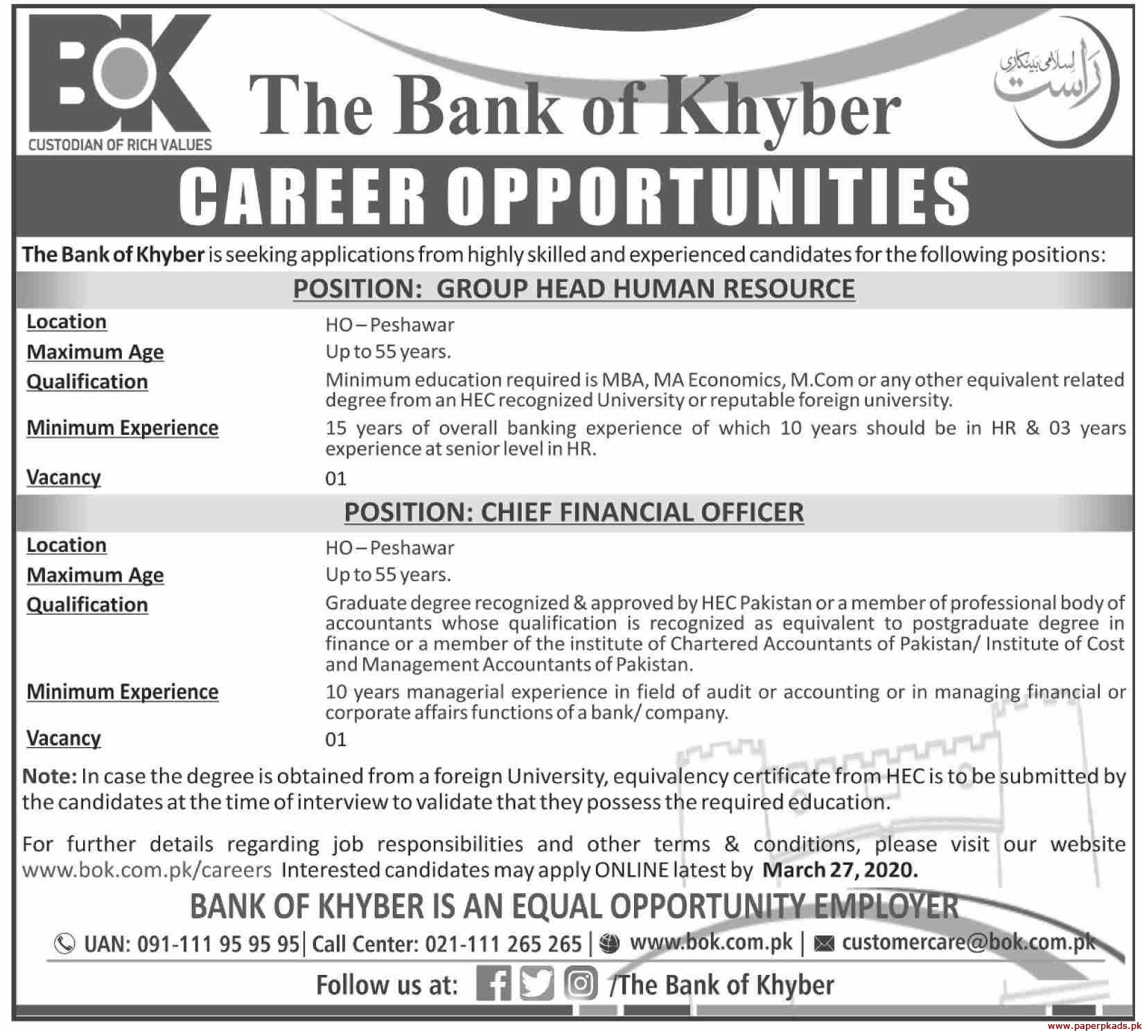 The Bank of khyber Jobs 2020 Latest