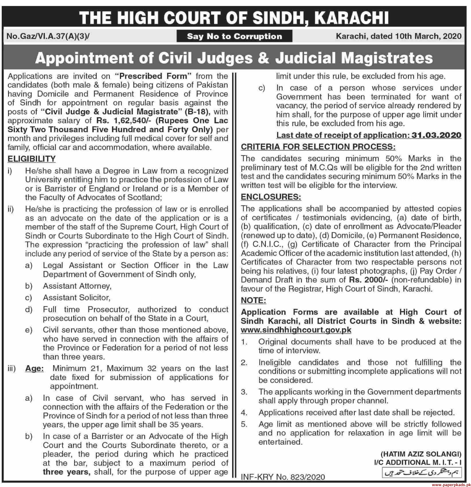 The High Court of Sindh Karachi Jobs 2020 Latest