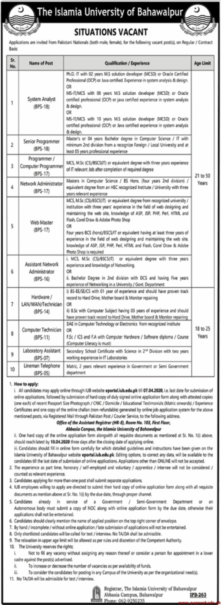 The Islamia University of Bahawalpur Jobs 2020 Latest