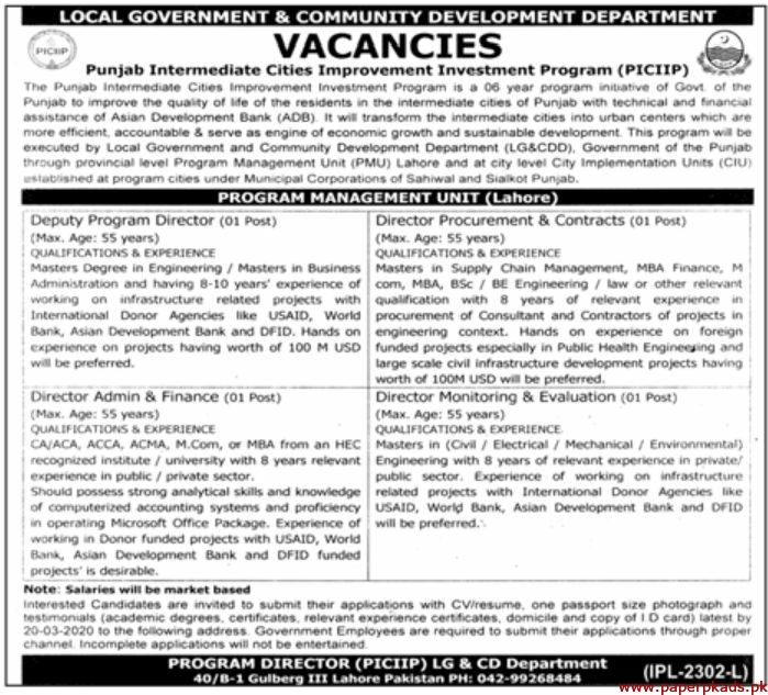 The Punjab Intermediate Cities Improvement Investment Program Jobs 2020 Latest