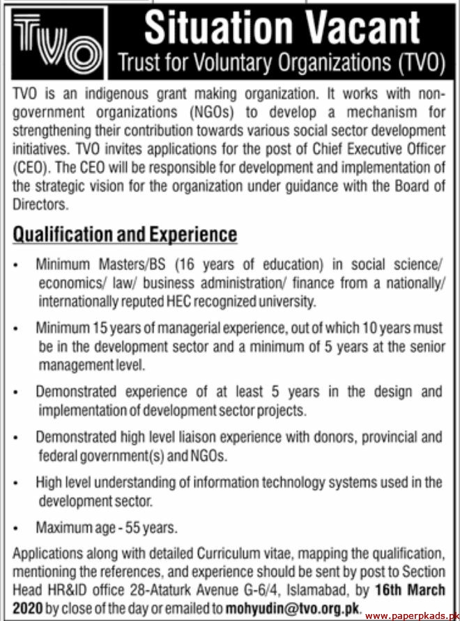 Trust for Voluntary Organizations TVO Jobs 2020 Latest