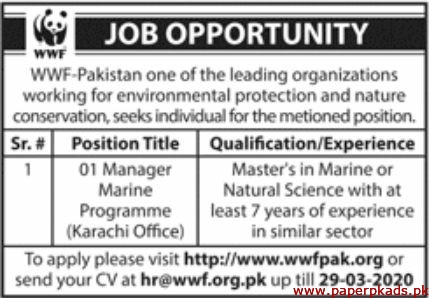 WWF Pakistan Jobs 2020 Latest