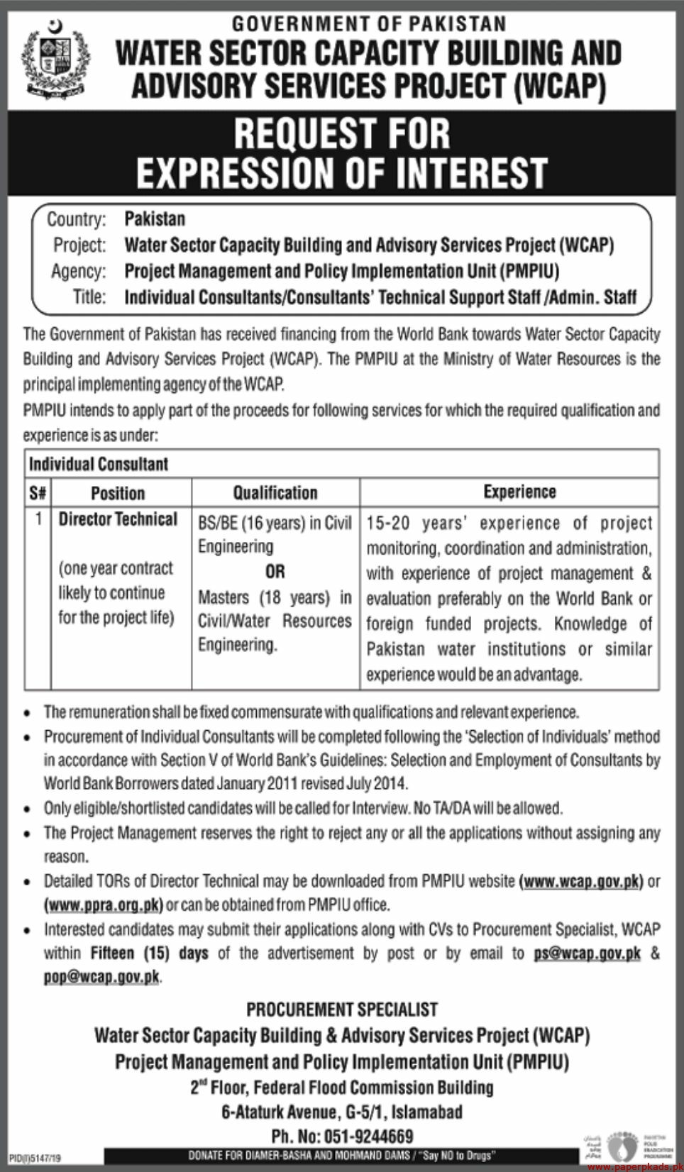 Water Sector Capacity Building and Advisory Services Project WCAP Jobs 2020 Latest