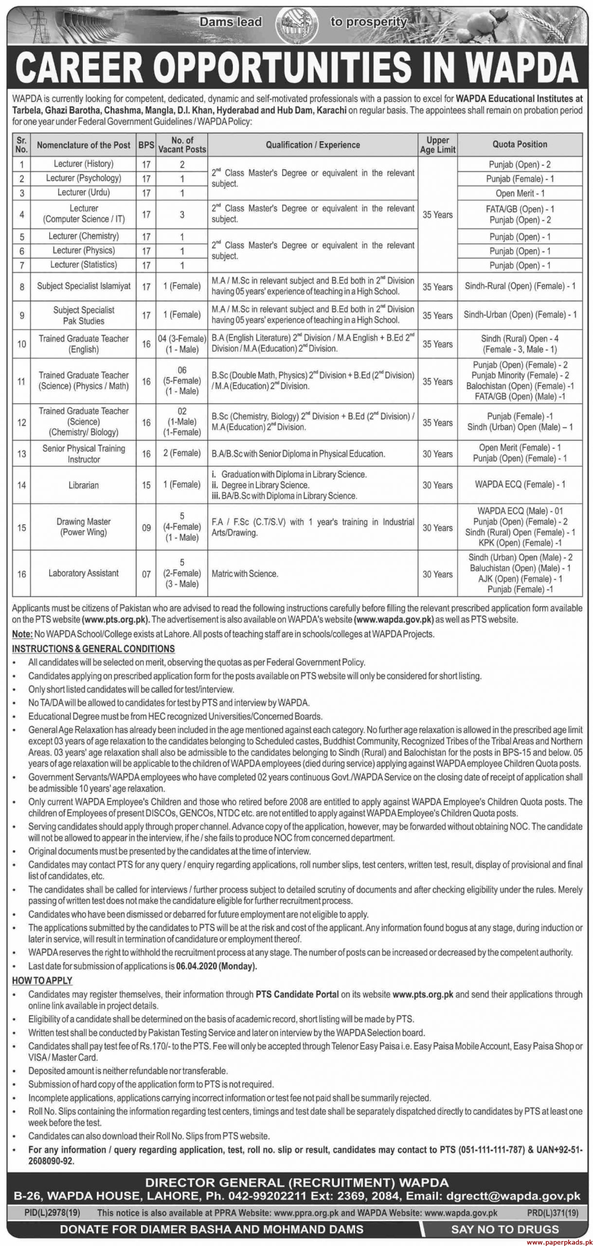 Water and Power Development Authority WAPDA Jobs 2020 Latest