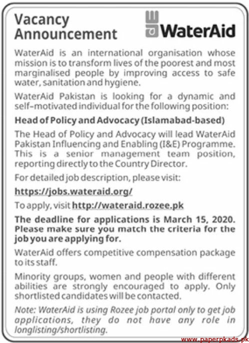 WaterAid International Organisation Jobs 2020 Latest
