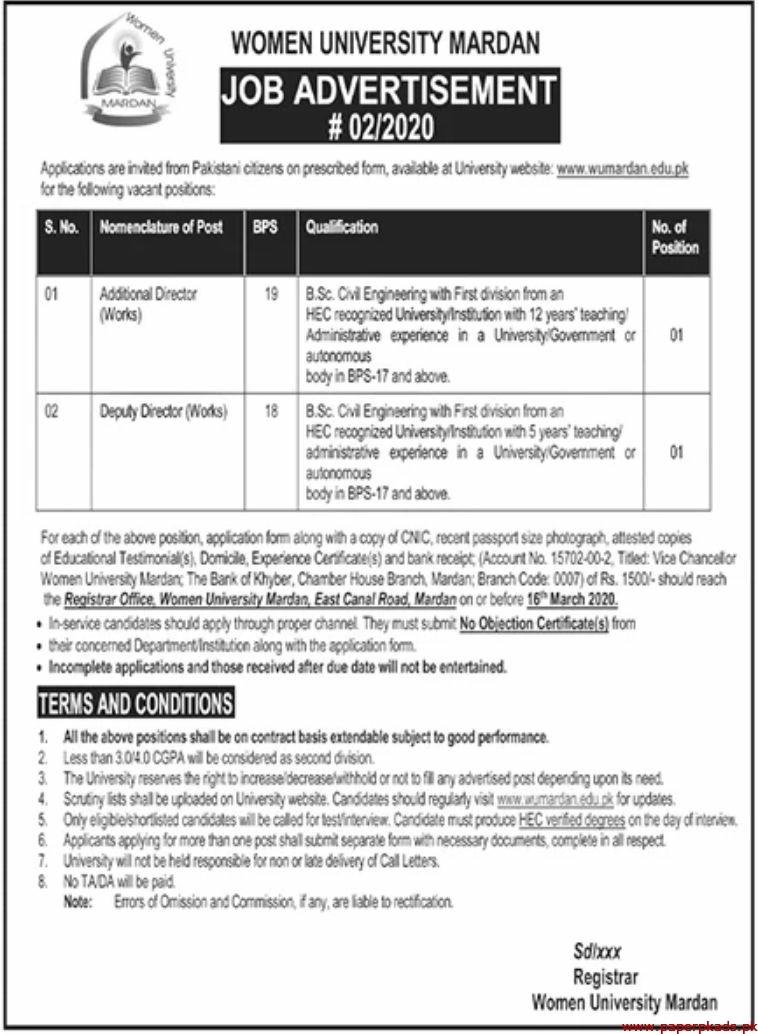Women University Mardan Jobs 2020 Latest