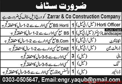 Zarrar & Co Construction Company Jobs 2020 Latest
