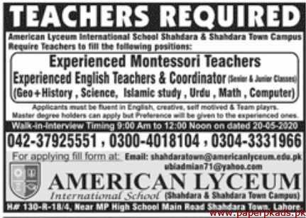 AMERICAN Lyceum International School Jobs 2020 Latest