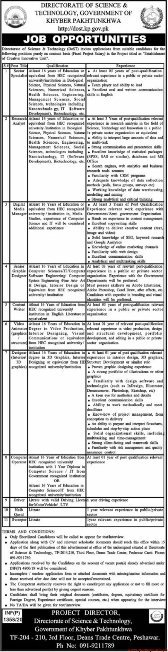 Directorate of Science & Technology DoST Jobs 2020 Latest