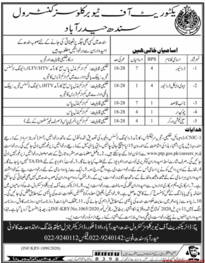 Directorate of Tuberculosis Control Sindh Hyderabad Jobs 2020 latest