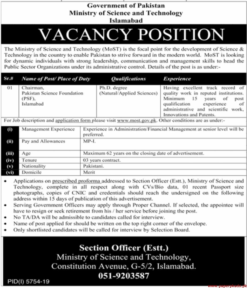 Government of Pakistan Ministry of Science and Technology Islamabad Jobs 2020 Latest