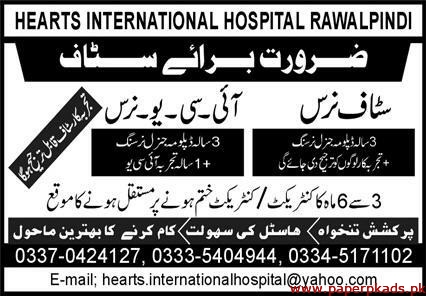 Hearts International Hospital rawalpindi Jobs 2020 Latest