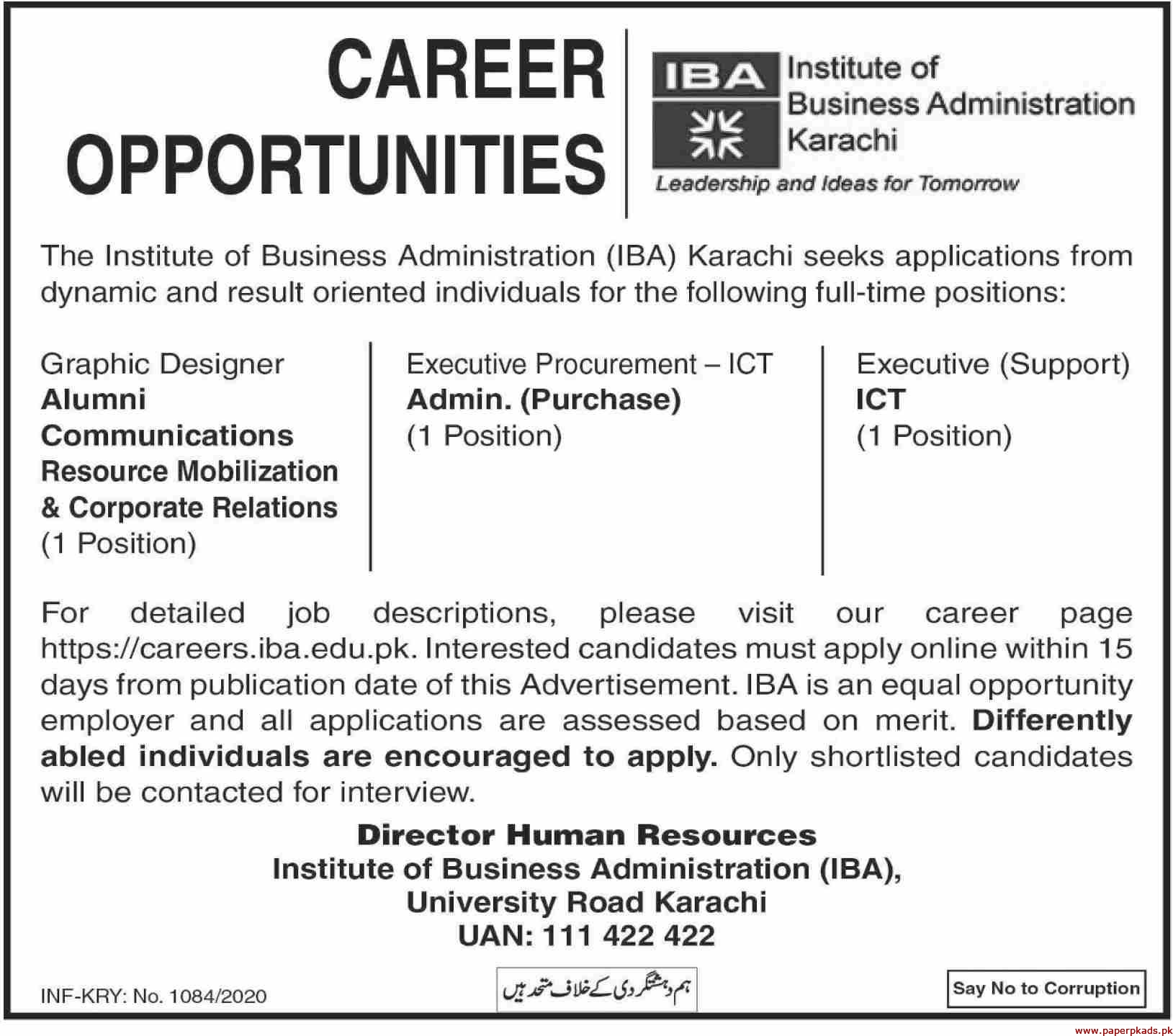 Institute of Business Administration IBA Karachi Jobs 2020 Latest